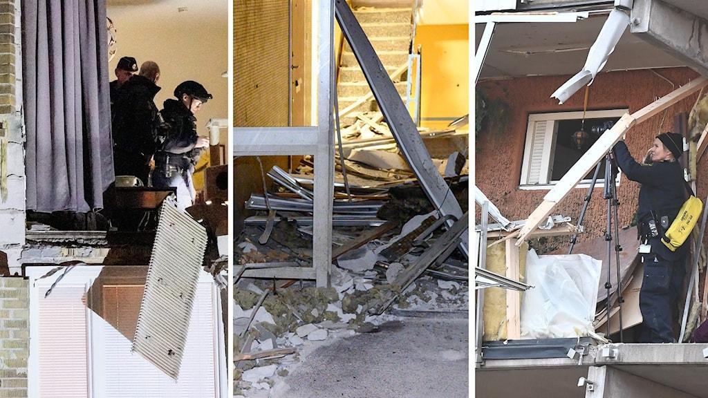 Flera olika fasader skadade av explosioner