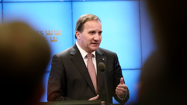 Socialdemokraternas partiledare Stefan Löfven (S) håller en pressträff i risdagens presscenter
