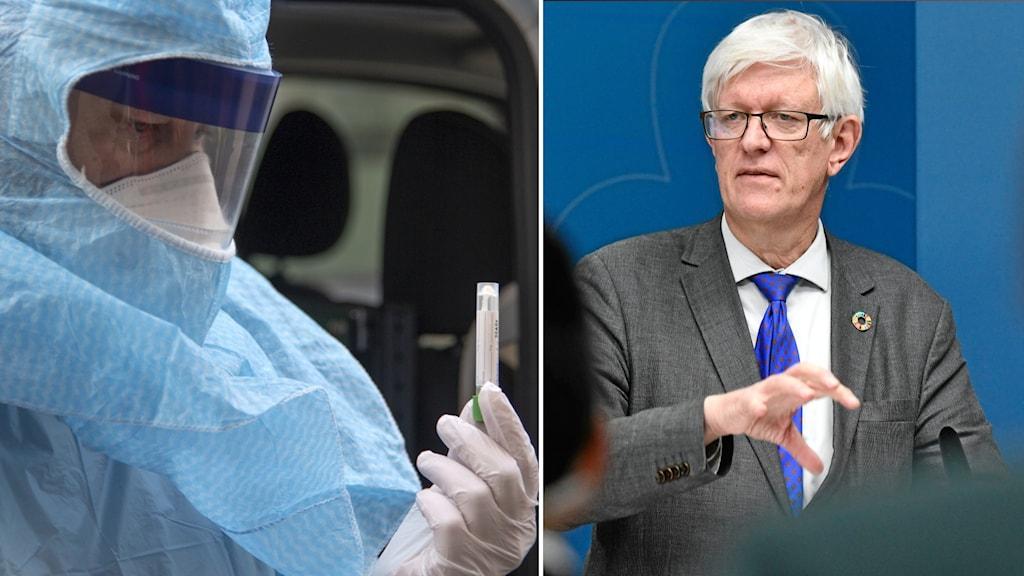Bildsplit på person med skyddsdräkt och provrör i handen och Johan Carlson, generaldirektör för Folkhälsomyndigheten.