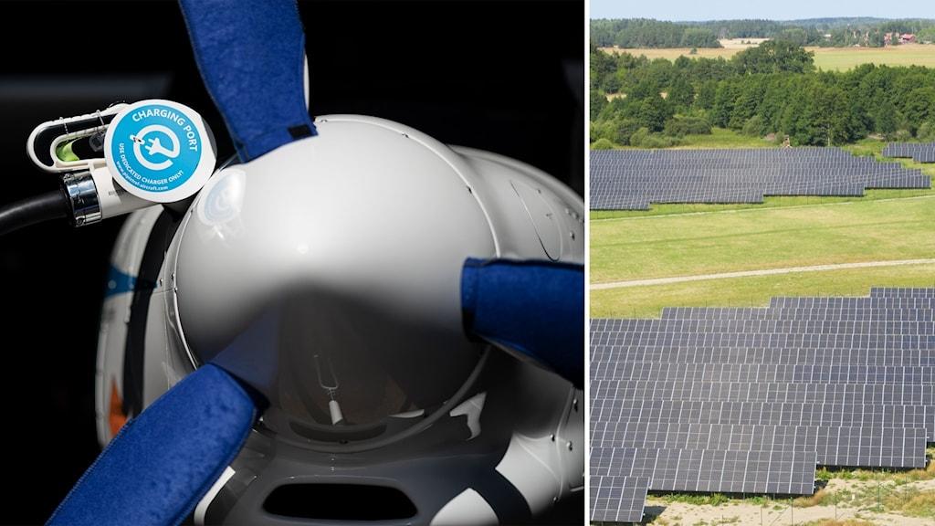 Delad bild: Propeller på ett eldrivet flygplan, solpaneler på en stor gräsyta.