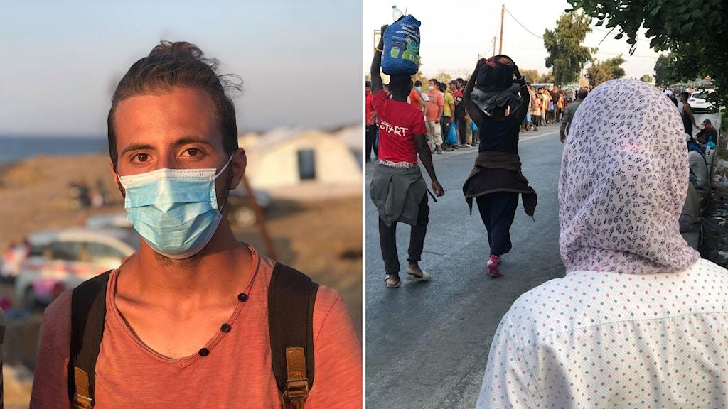 Delad bild: Ung man i munskydd, ung tjej i huvudduk som syns bakifrån.