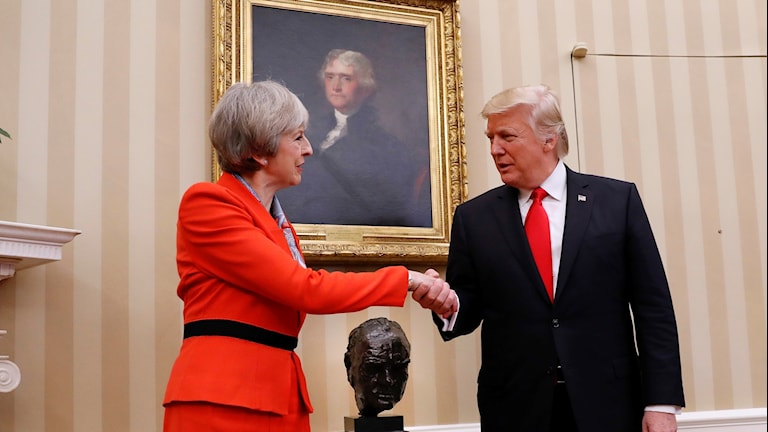Theresa May och Donald Trump. Foto:Pablo Martinez Monsivais/TT.