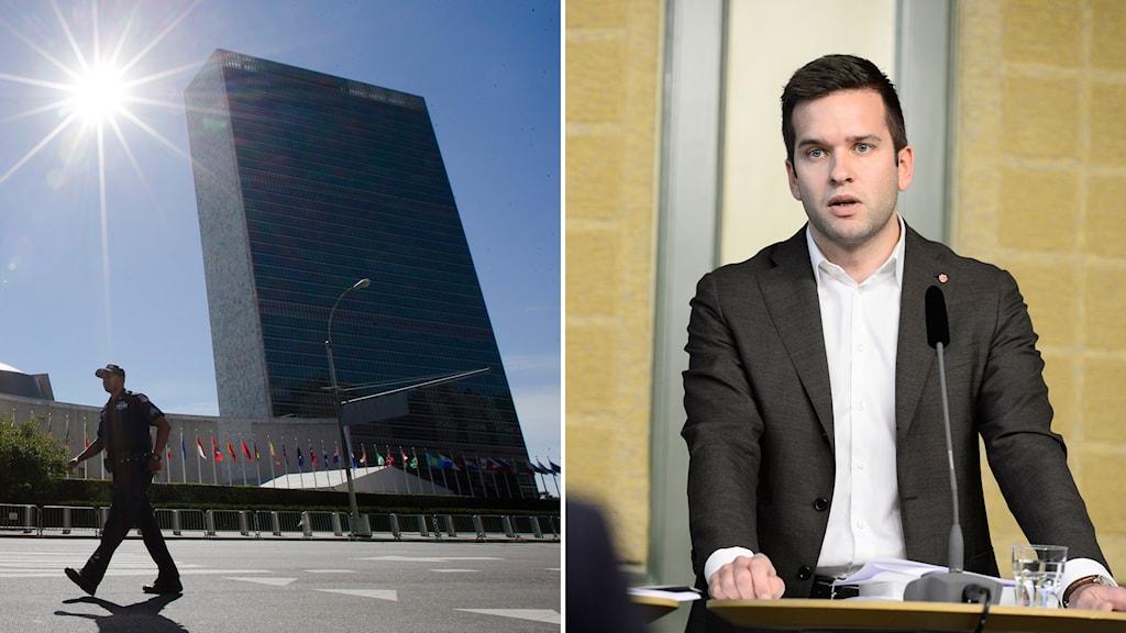FN:s hökvarter i New York och folkhälsominister Gabriel Wikström.