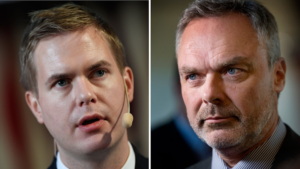Gustav Fridolin (MP) utbildningsminister och Jan Björklund (L) partiledare och före detta utbildningsminister.