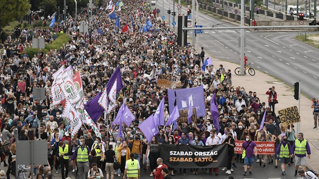 Bild på protest, människomassa i Budapest.