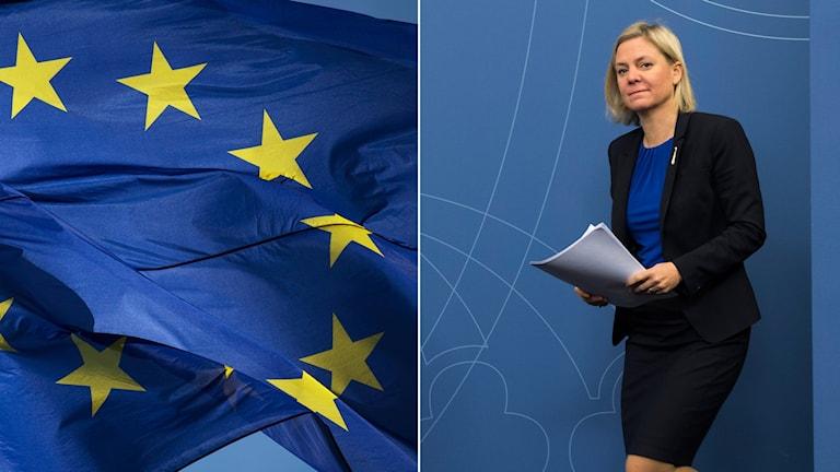 EU-flagga och Magdalena Andersson