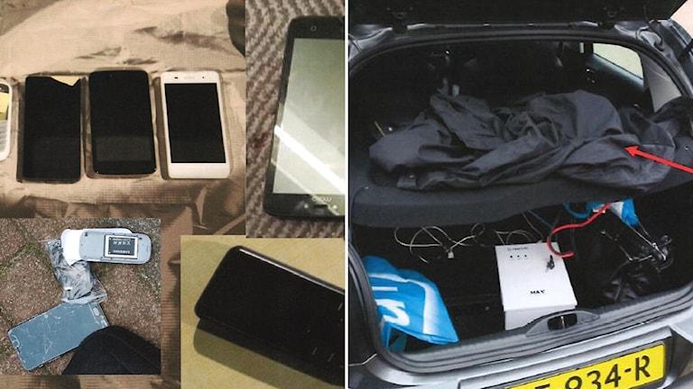 Beslagtagna mobiltelefoner och polisens bild på en bil med öppen baklucka innehållandes wi-fi-utrustning.