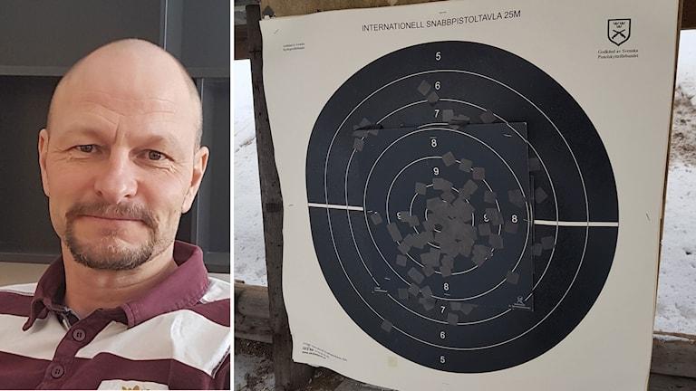 Polisinspektör Mats Lindström, till höger en Måltavlor vid skytteklubben Roslagens pistolskyttar.