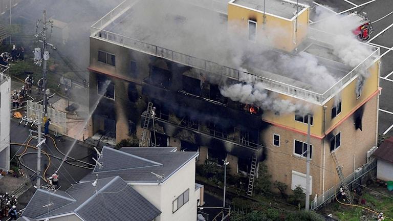 Branden i Kyoto. Foto: Kyodo News via AP/TT.