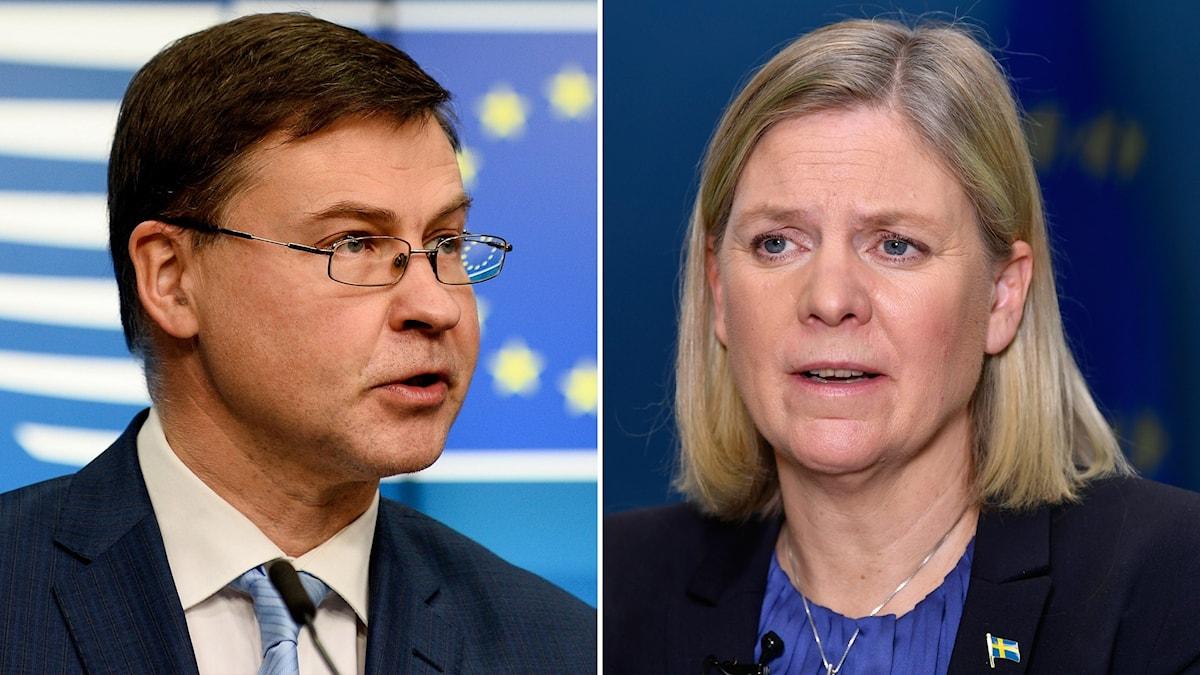 Valdis Dombrovskis och Magdalena Andersson.