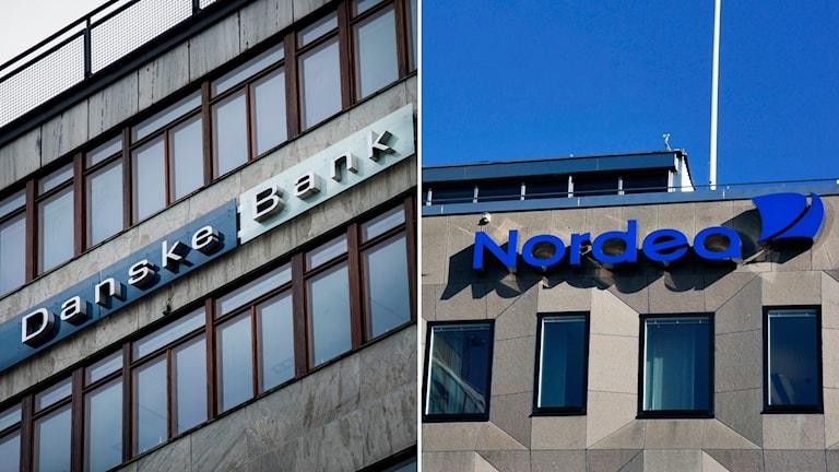 Danske bank och Nordeas logotyper på byggnader.