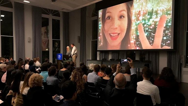 En minnesstund hölls för Kim Wall på Columbiauniversitet i New York.