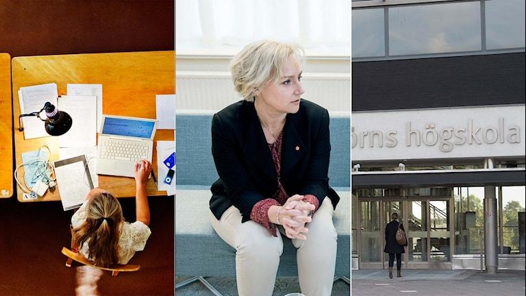 läsesal, Helene Hellmark Knutsson minister för högre utbildning, entre Södertörns högskola..