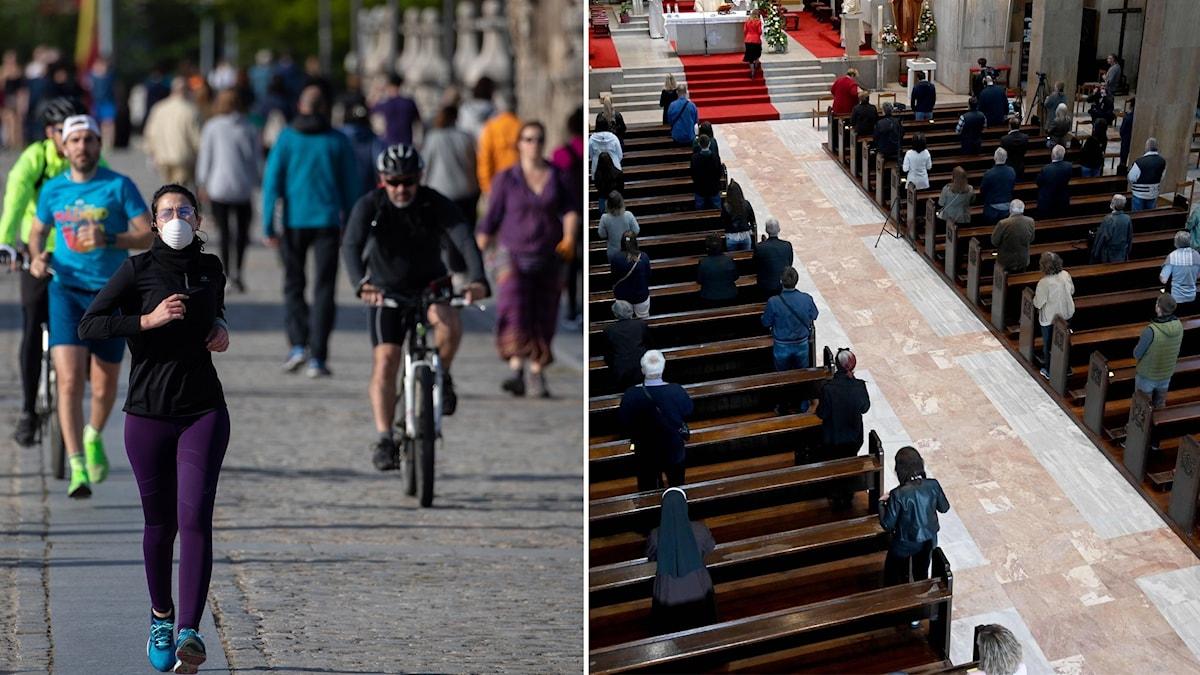Bildsplit på personer som motionerar ute i Spanien och personer i kyrka i Kroatien.