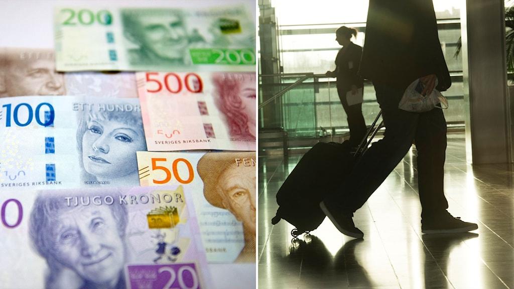 En hög med kontanter och en man med resväska på Arlanda.