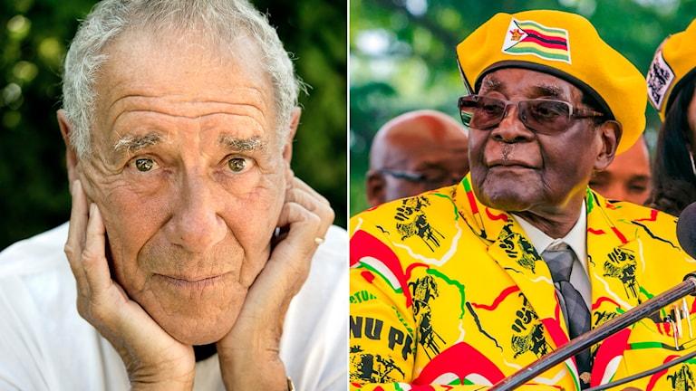 Per Wästberg och Robert Mugabe.