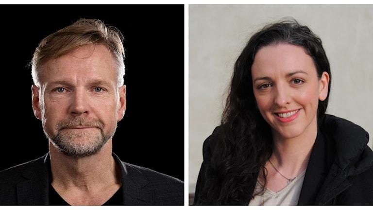 Ekots inrikespolitiska kommentator Tomas Ramberg och Tamara Spiric (V).