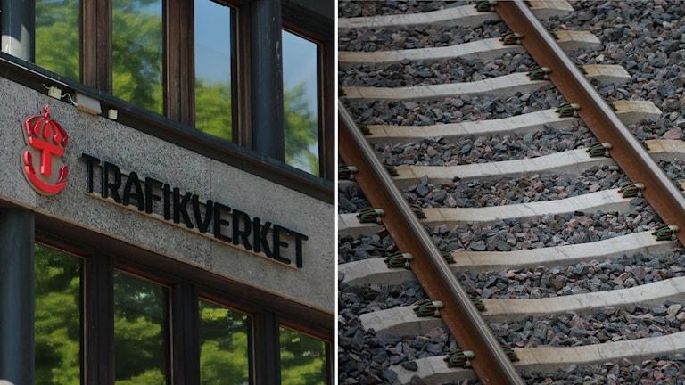Bildsplit på fasad med Trafikverkets logotyp och ett järnvägsspår