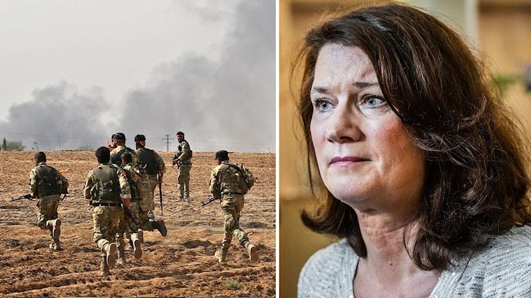 Kollage av pro-turkiska syriska styrkor samt utrikesminister Ann Linde.