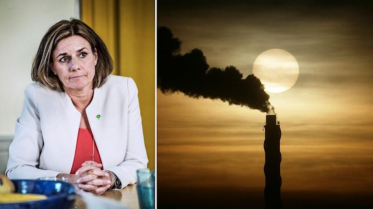 Klimatminister Isabella Lövin och skorsten som ryker.