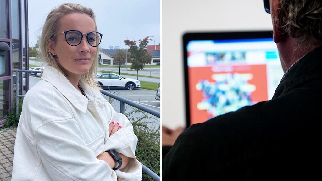 Tvådelad bild med kvinna med ljust hår och glasögon till vänster och ryggtavla på man som ser på skärm.
