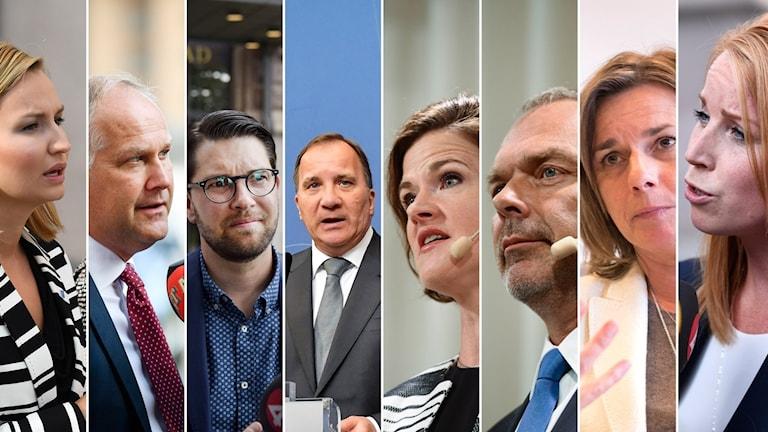 Alla riksdagspartiledare i en bild