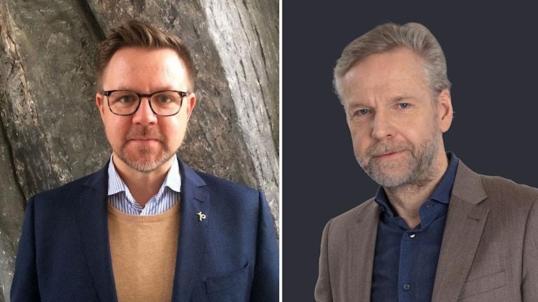 Kollage av Fredrick Federley (C) och Ekots inrikespolitiska kommentator Tomas Ramberg.