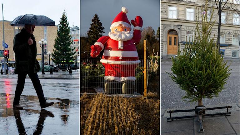 Tredelad bild: Man går med paraply i regn, låtsastomte vinkar på en åker, en julgran på en väg