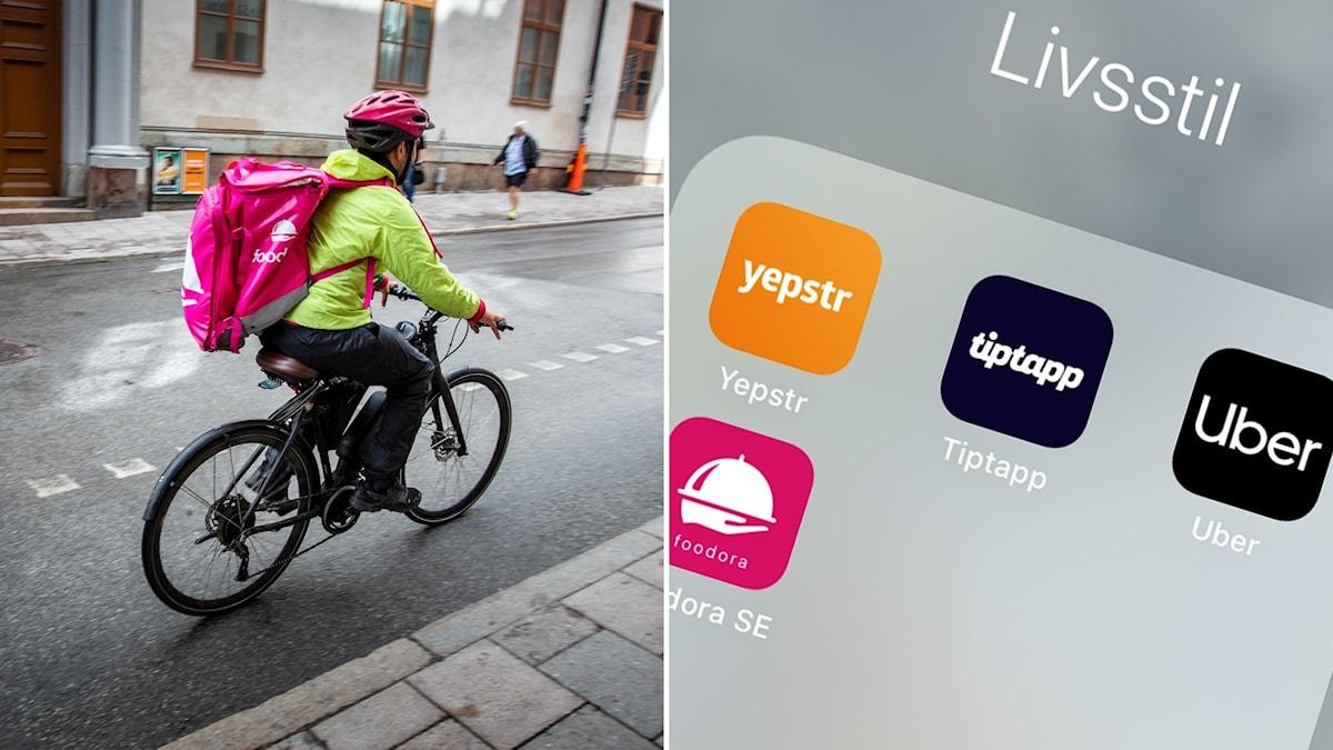 Delad bild: Ett foodora-bud på cykel, en telefon med apparna Yepstr, Foodora, Uber och Tiptapp.