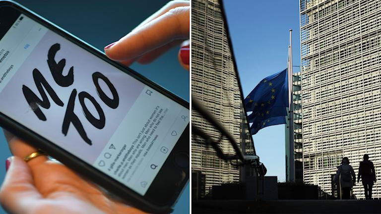 Mobilskärm med Me too och Europaparlamentet.
