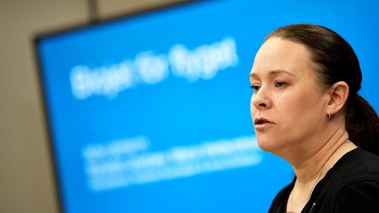 Maria Wetterstrand presenterar utredningen om biobränslen i flyget.