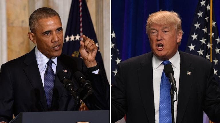 Bild split på Obama som kritiserar Trump.