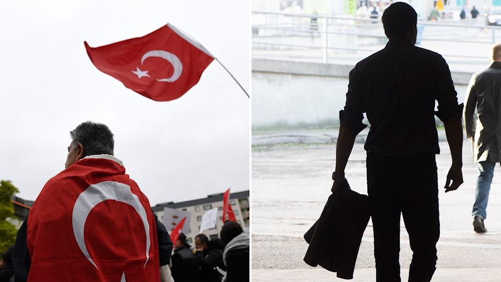 Turkiskt valmöte i Sverige och silhuetten av en man.