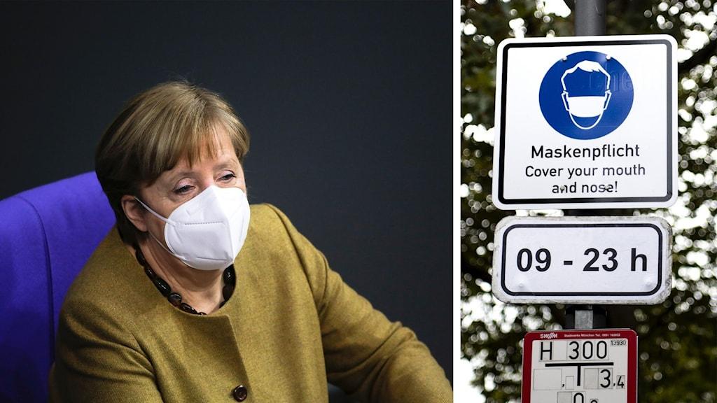Angela Merkel, ledare för tyska Kristdemokraterna, till vänster och en skyld om att