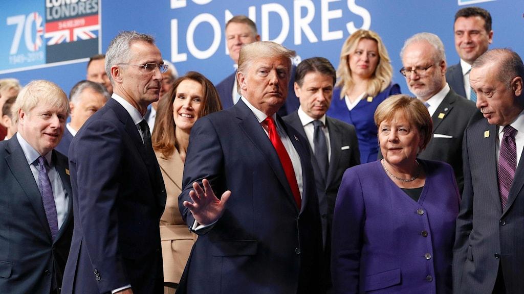 Boris Johnson, Donald Trump, Angela Merkel och Recep Tayyip Erdogan under mötet.