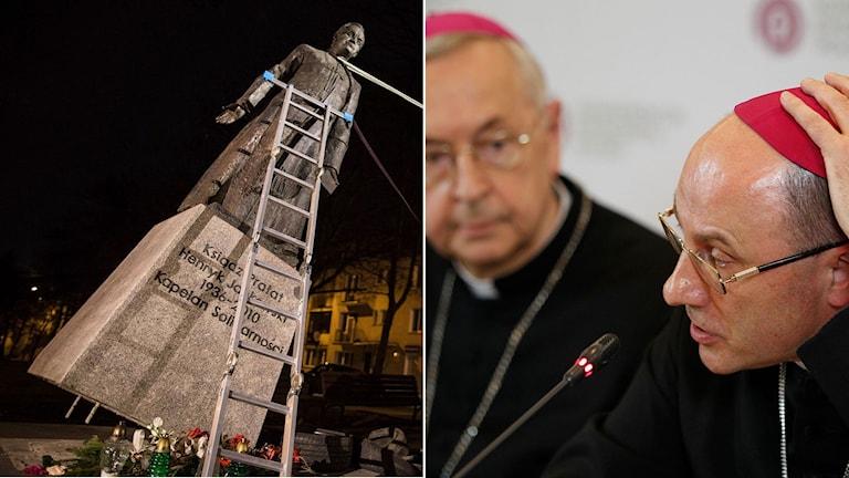 Staty av präst som begått övergrepp tas bort i Polen. Den polska ärkebiskopen Wojciech Polak under presskonferensen om övergreppen.