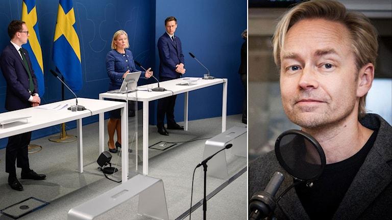 Regeringen och samarbetspartierna till vänster. Ekots inrikespolitiske kommentator Fredrik Furtenbach till höger.
