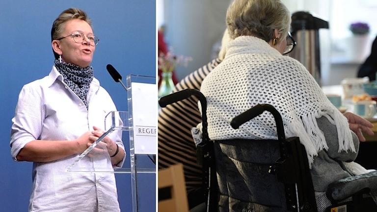 Delad bild: Susanne Rolfner Suvanto och en gammal dam på ett äldreboende.