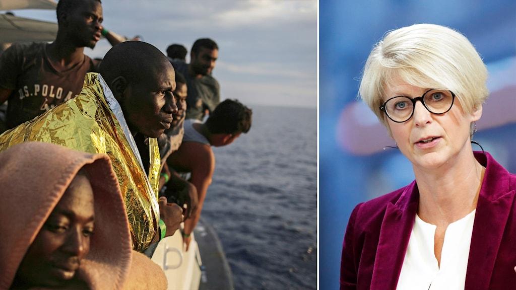 Delad bild: migranter och kvinna mot blå bakgrund