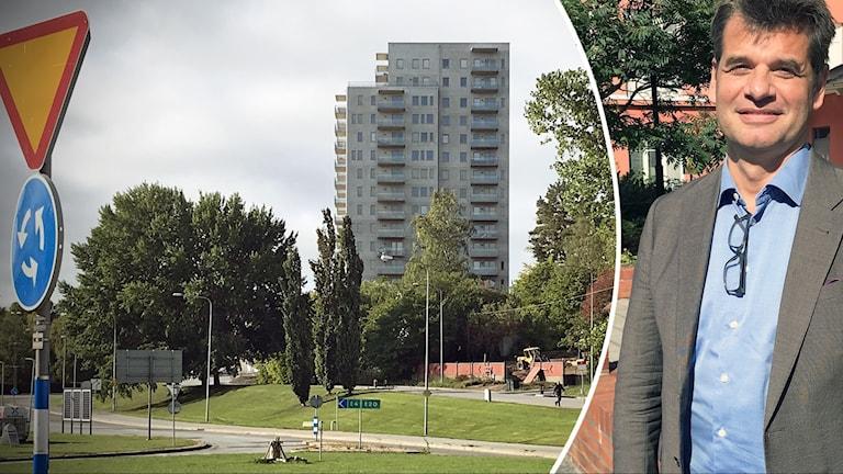 Det nya 16-våningshuset på Stockholmsberget i Södertälje och Pontus Werlinder.