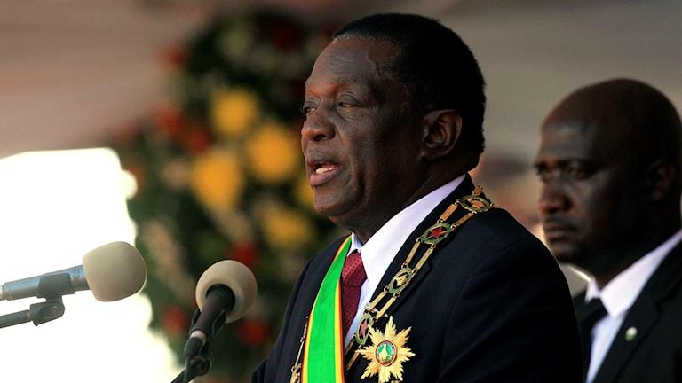 Zimbabwes president Emmerson Mnangagwa håller tal