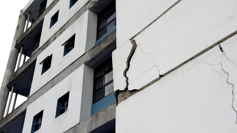 Skadad husfasad i Costa RIca