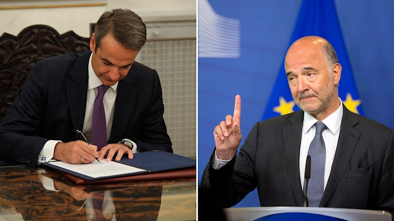 Greklands premiärminister Kyriakos Mitsotakis och EU:s ekonomikommissionär Pierre Moscovici som var med och förhandlade fram krislånen till Grekland.