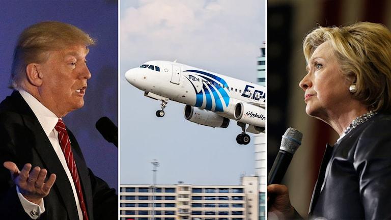 Tredelad bild, Trump, det försvunna flygplanet och Clinton