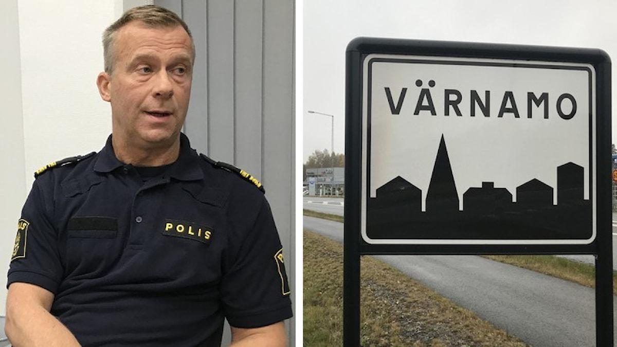 Bild på Håkan Boberg, lokalpolisområdeschef och en vägskylt för Värnamo.