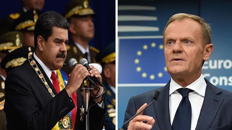 Venezuelas sittande president Maduro talade till anhängare från presidentpalatset.