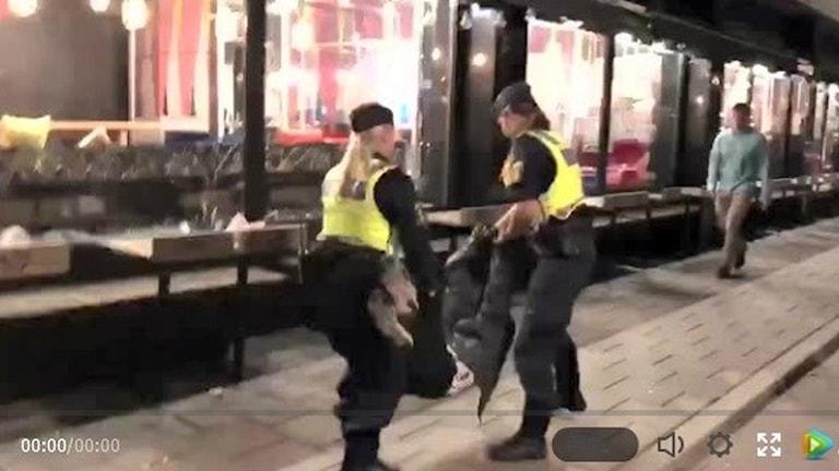 Åklagare: Ingen polisbrutalitet. Faksimil från videoklippet, Sveriges Radio.