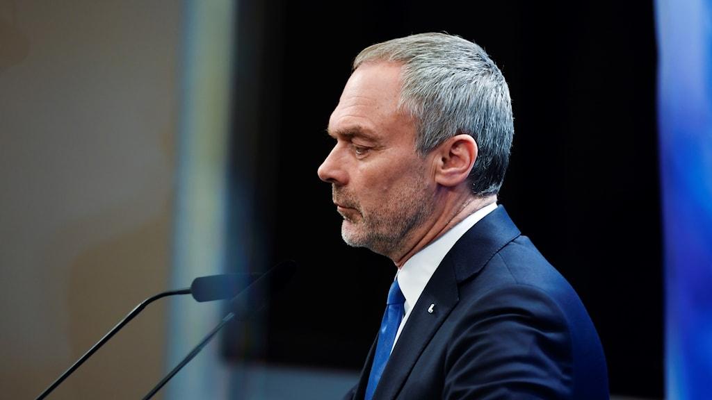 Liberalernas partiledare Jan Björklund (L) under onsdagens pressträff i Riksdagens presscenter