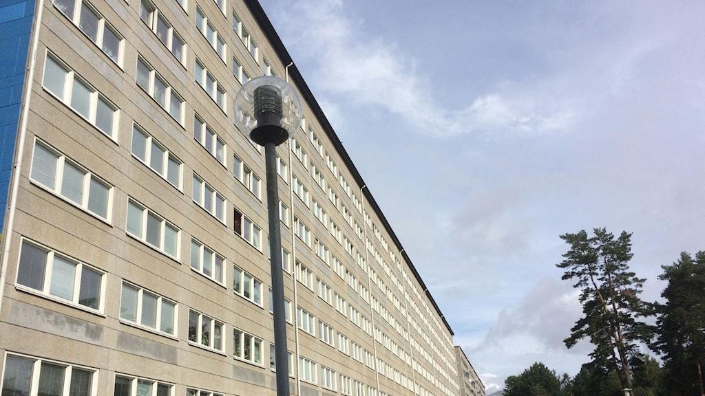 Fasaden av ett högt grått höghus i stadsdelen Hammarkullen i Göteborg. Grå himmel i bakgrunden.