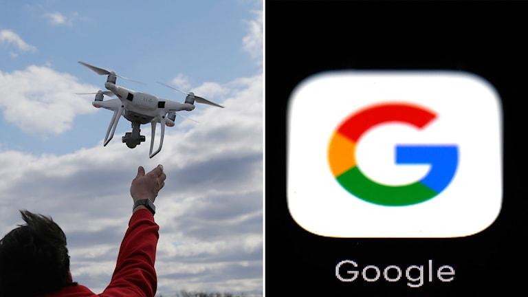 En man som släpper en drönare och Googles logga.